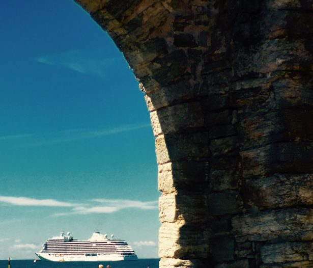 A view of our luxury cruise ship from inside the ancient city walls of Visby, Sweden.